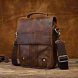 Чоловіча сумка через плече Натуральня шкіра Барсетка Чоловіча шкіряна сумка для документів планшет Коричнева, фото 2