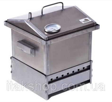 Коптильня горячего копчения из стали с термометром и подставкой 300х300х250