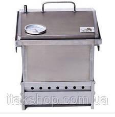 Коптильня горячего копчения из стали с термометром и подставкой 300х300х250, фото 2