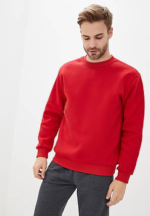 Світшот чоловічий теплий на флісі червоний, фото 2