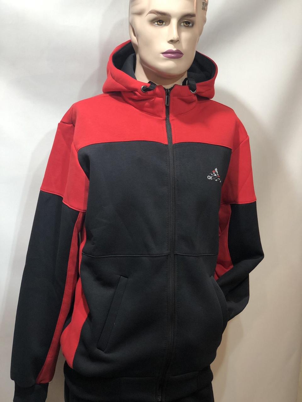 Теплий спортивний костюм на блискавці чоловіча з капюшоном Туреччина Чорний