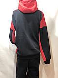 Теплий спортивний костюм на блискавці чоловіча з капюшоном Туреччина Чорний, фото 9