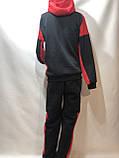 Теплый спортивный костюм на молнии мужской с капюшоном Турция Черный, фото 7