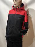 Теплий спортивний костюм на блискавці чоловіча з капюшоном Туреччина Чорний, фото 3