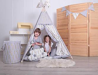 Детская палатка-вигвам с ковриком Золотые перья 125х125х170 см