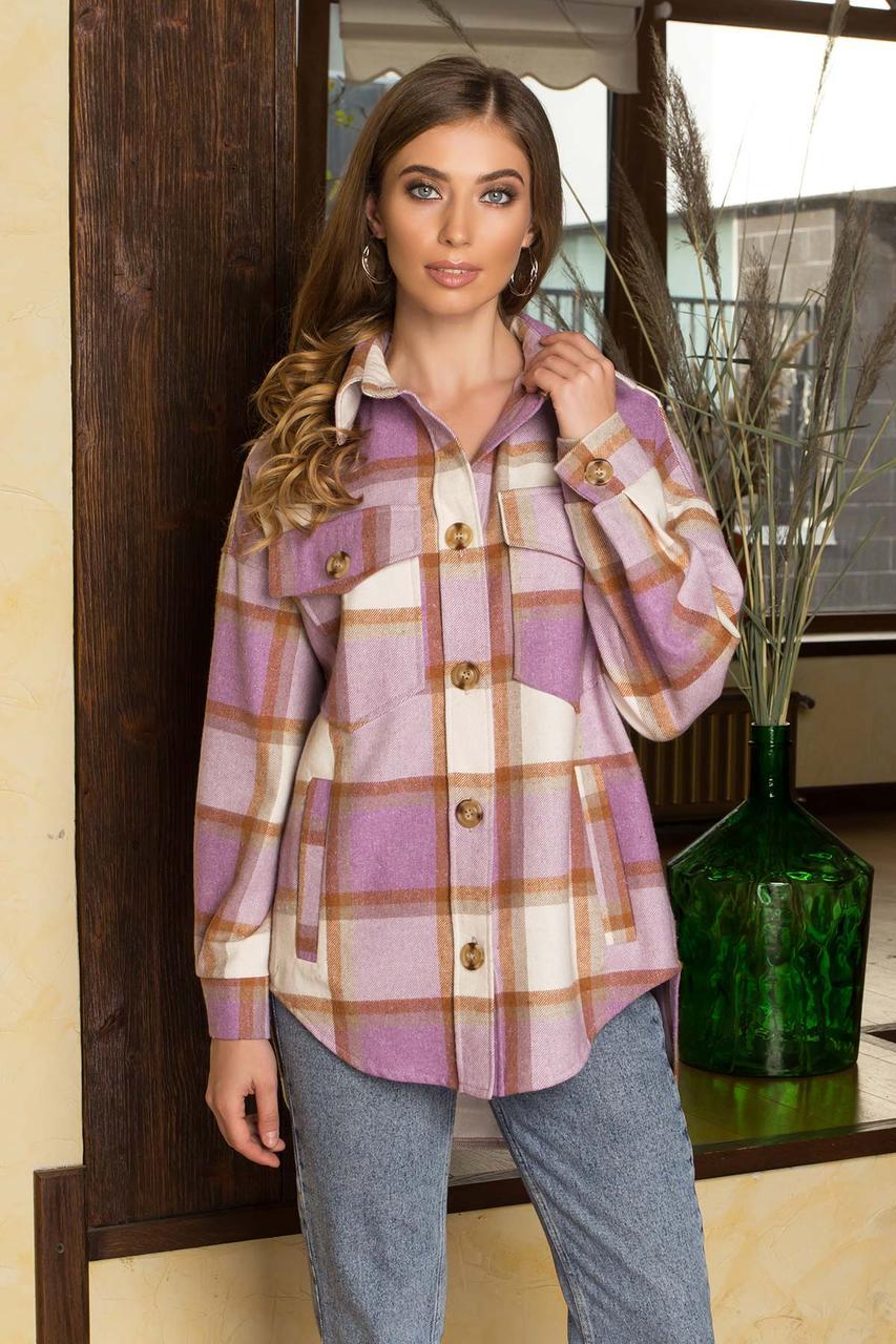 Теплая женская рубашка оверсайз в клетку удлиненная сиреневая