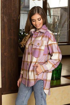 Теплая женская рубашка оверсайз в клетку удлиненная сиреневая, фото 3