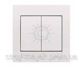 Выключатель двойной Lezard серия DERIY белый
