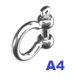 Карабин Омегаобразный 4,0 мм нержавеющий А4 (20 шт/уп)