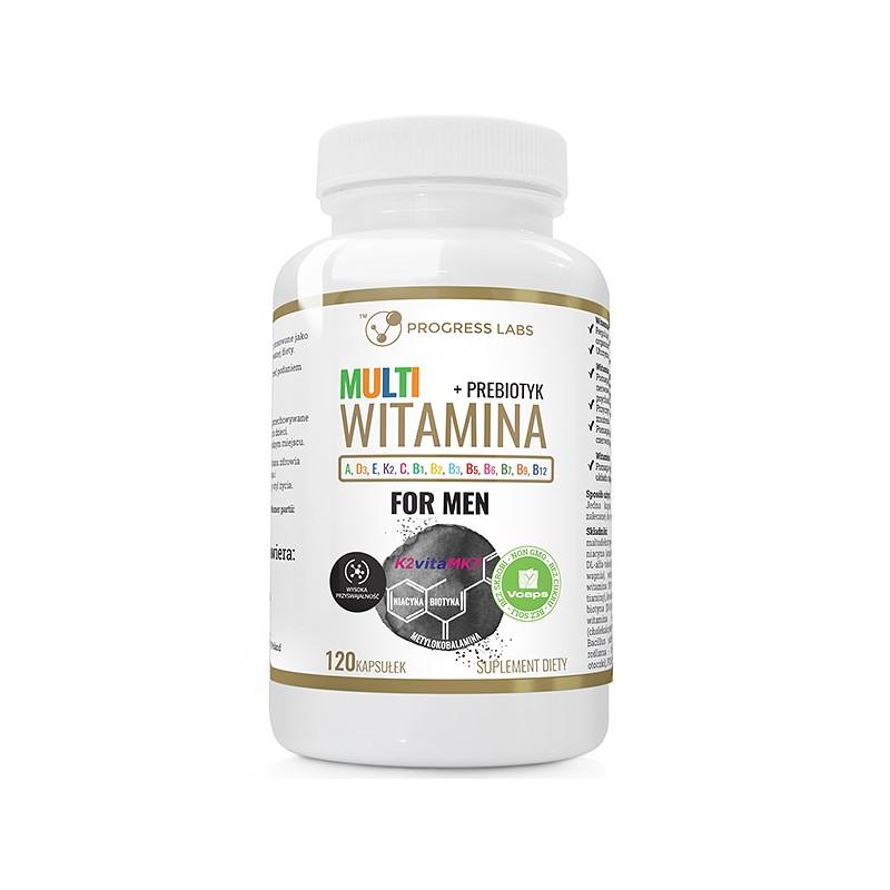 Мультивитаминный комплекс для мужчин, Витамин B + ADEK + Витамин C + пребиотик 120 caps, PROGRESS LABS