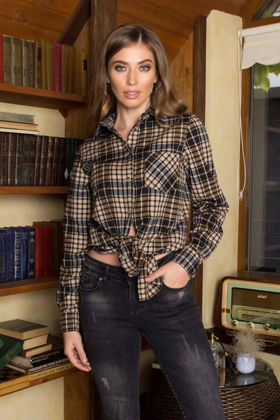 Теплая женская рубашка в клетку удлиненная трикотажная, фото 2