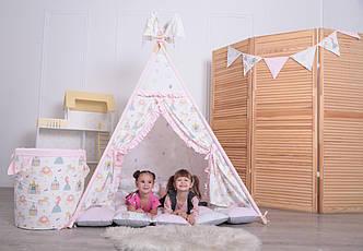 Детская палатка-вигвам с ковриком Принцессы 125х125х170 см