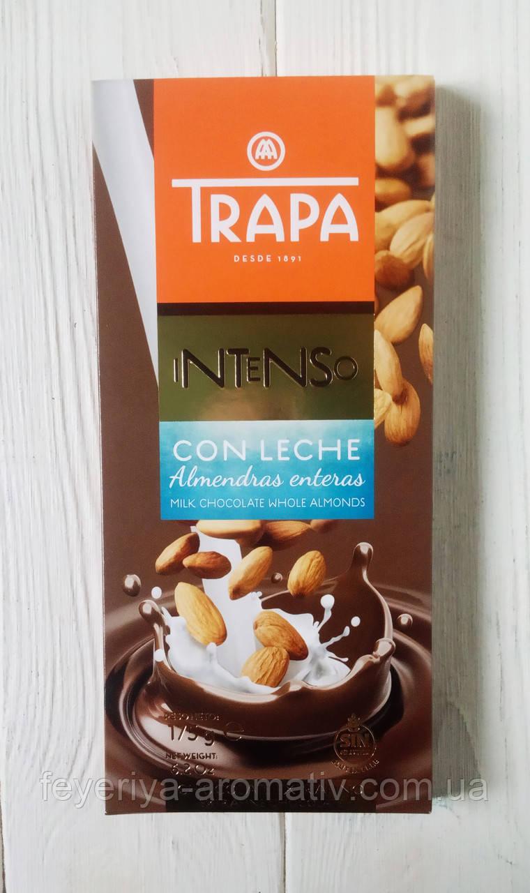 Шоколад молочный с миндалем TRAPA Intenso 175г (Испания)