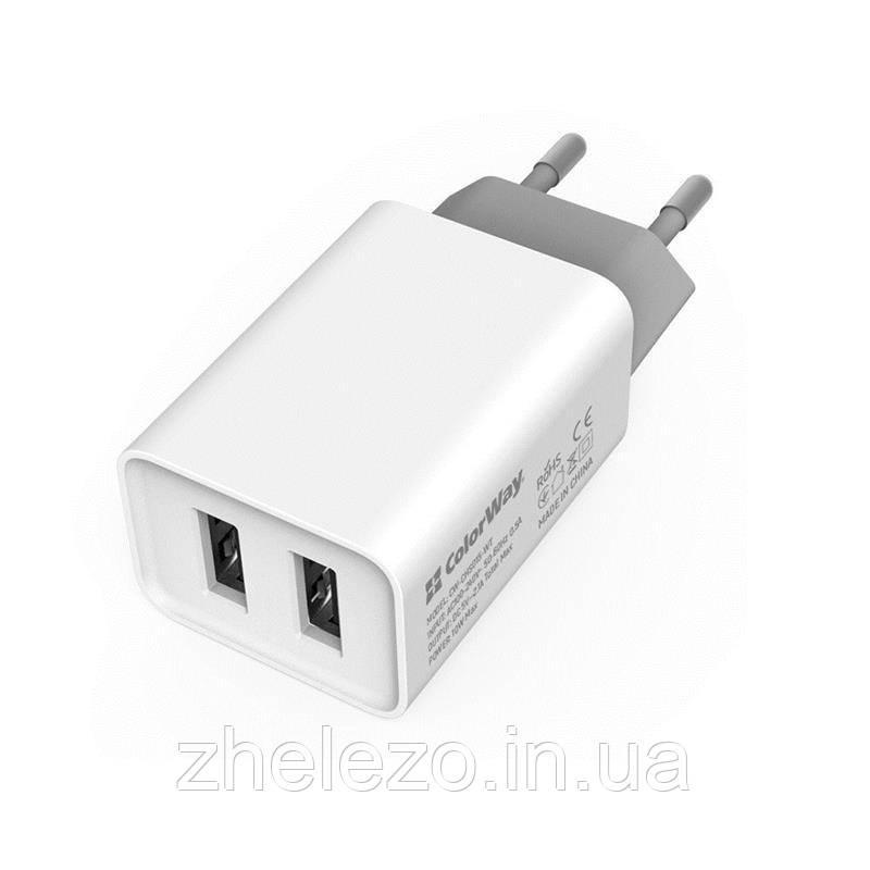 Мережевий зарядний пристрій ColorWay AutoID (2USBx2.1A) White (CW-CHS015-WT)