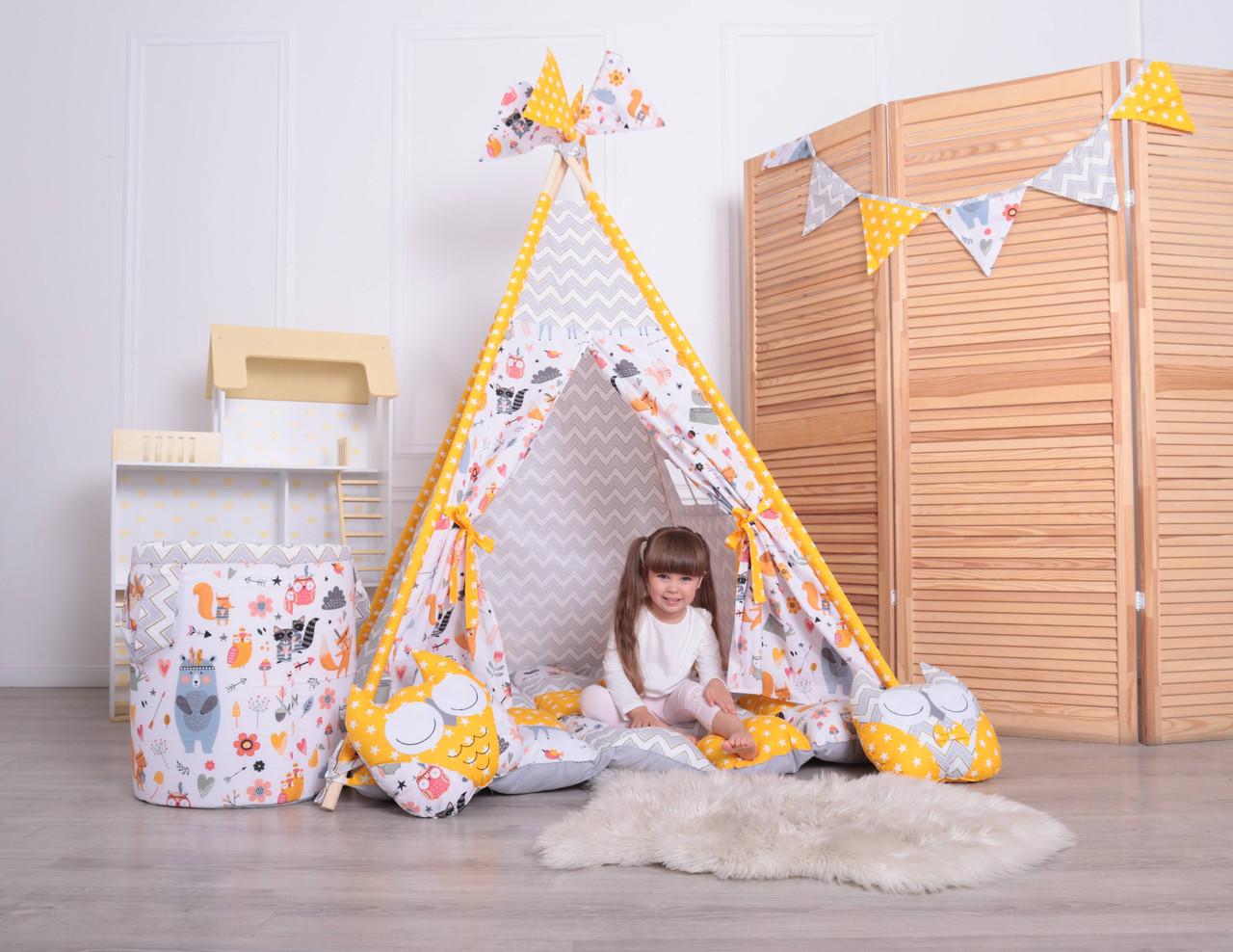 Детская палатка-вигвам с ковриком Лесные Зверята 125х125х170 см