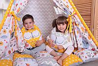 Детская палатка-вигвам с ковриком Лесные Зверята 125х125х170 см, фото 3