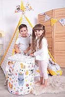 Детская палатка-вигвам с ковриком Лесные Зверята 125х125х170 см, фото 6