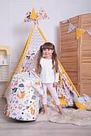Детская палатка-вигвам с ковриком Лесные Зверята 125х125х170 см, фото 8
