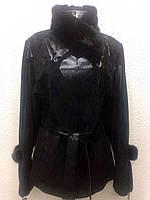 Кожаная женская куртка черная в лазерном накате