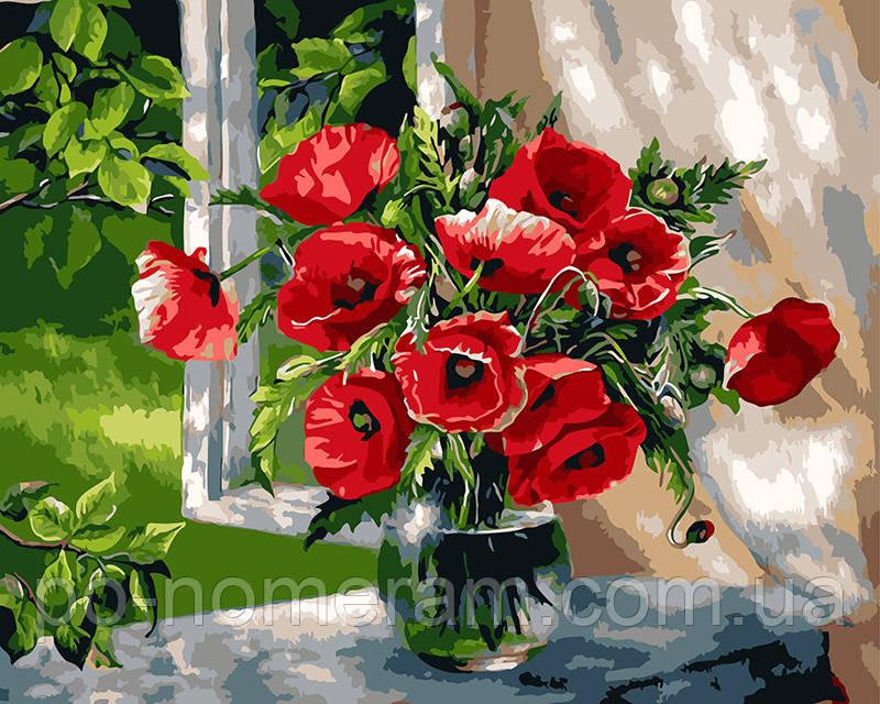 Картина по номерам BrushMe Маки у окна (BK-GX9298) 40 х 50 см (Без коробки)