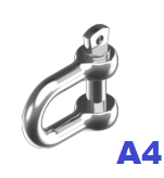 Карабин U-образный (скоба такелажная) 4,0 мм нержавеющий А4 (50 шт/уп)