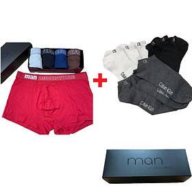 Мужские трусы Man Underwear 5 штук хлопок + 9 пар носков