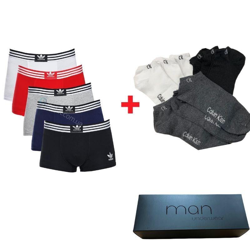 Мужские трусы Adidas 5 штук хлопок + 9 пар носков