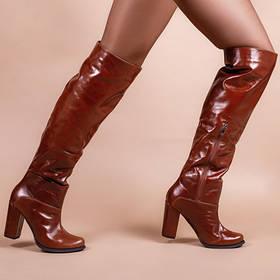 Ботфорты на каблуке коньячного цвета кожаные ботфорты 35-41