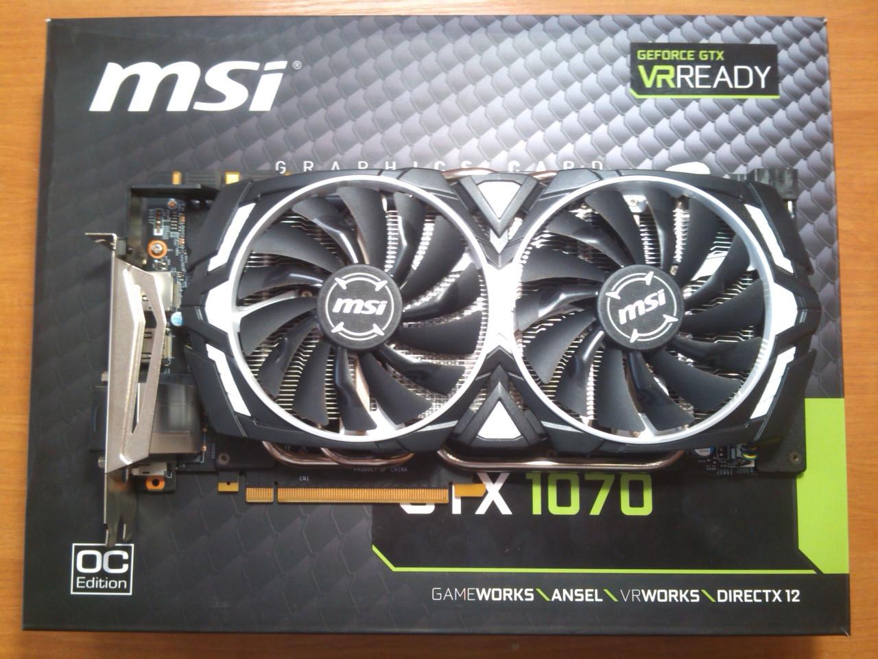 MSI GTX 1070 ARMOR OC 8GB 256bit GDDR5 HDMI PCI-E Гарантія!