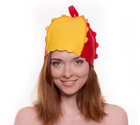 """Банная шапка Luxyart """"Букашка"""", натуральный войлок, красный с желтым (LA-087)"""