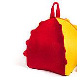 """Банная шапка Luxyart """"Букашка"""", натуральный войлок, красный с желтым (LA-087), фото 3"""
