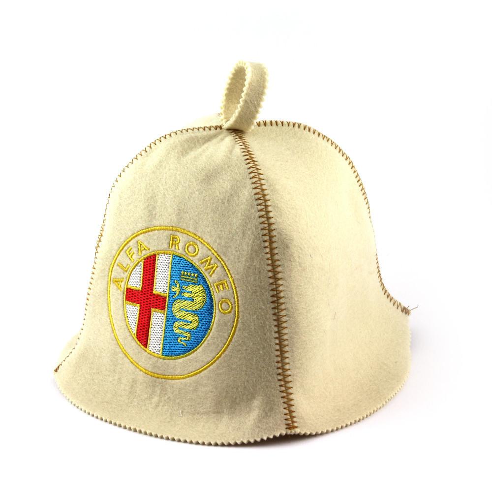 """Банная шапка Luxyart """"Alfa Romeo"""", искусственный фетр, белый (LA-318)"""