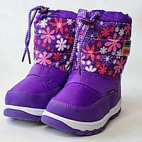 Детские дутики зимние сапоги теплые на зиму для девочки фиолетовые Libang 27р 17см