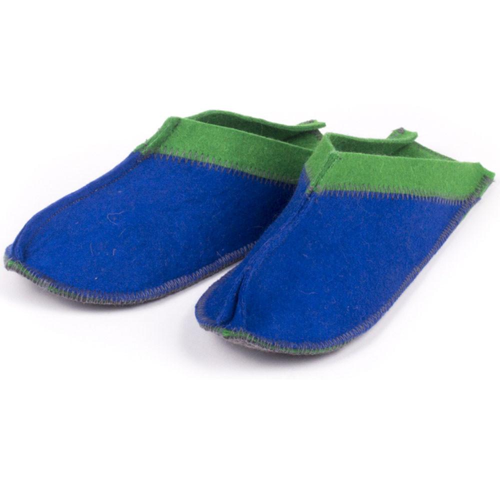 Тапочки для дома и бани войлочные Luxyart Цветный малые, размер 36-39, синий с зеленым(LS-147)