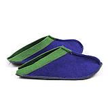 Тапочки для дома и бани войлочные Luxyart Цветный малые, размер 36-39, синий с зеленым(LS-147), фото 2