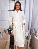Вафельный Premium халат Luxyart Шаль, размер (42-44) S, 100% хлопок, белый (LP-038), фото 2