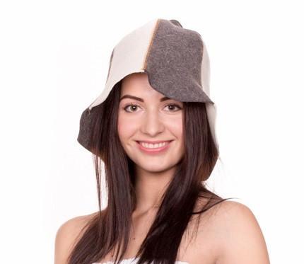 """Банная шапка Luxyart """"Комби"""", натуральный войлок, серый с белым (LA-063)"""