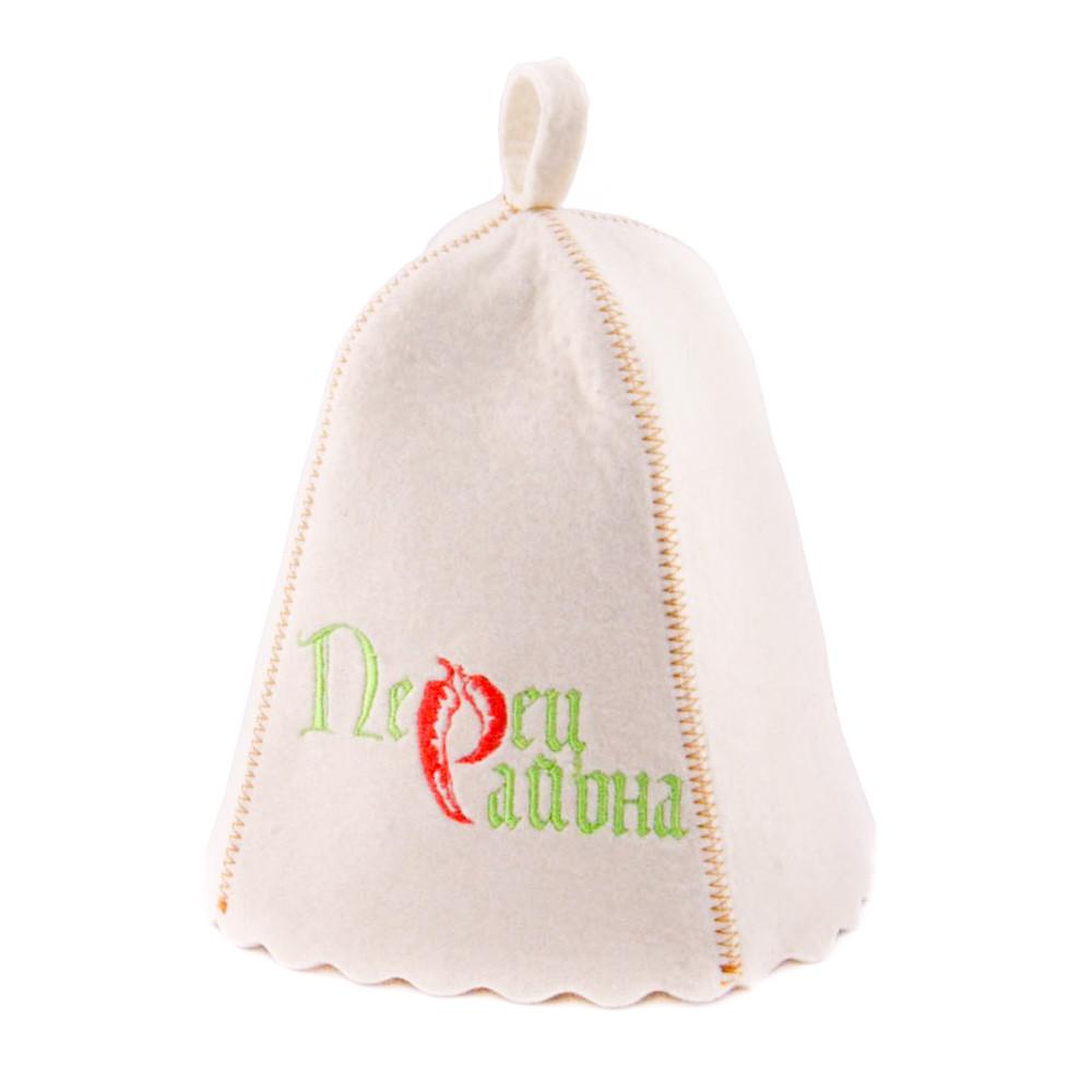 """Банная шапка Luxyart """"Перец района"""", натуральный войлок, белый (LA-150)"""