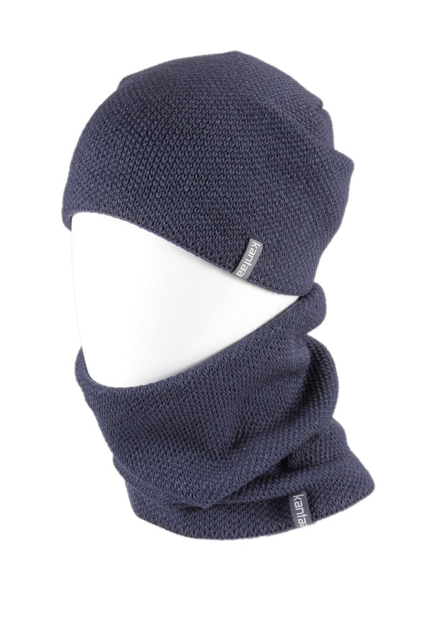 Вязаная шапка с Buff снуд КАНТА унисекс размер взрослый, синий (OC-036)