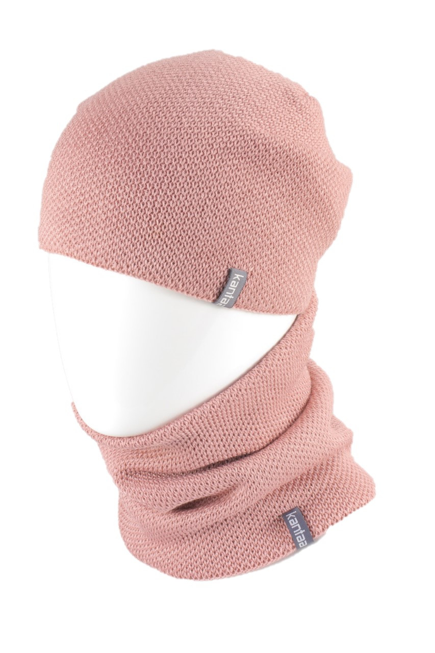 Вязаная шапка с Buff снуд КАНТА женский размер взрослый, пудра (OC-038)