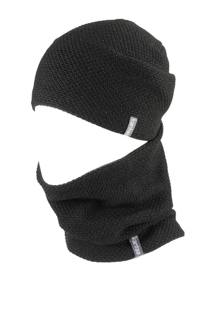 Вязаная шапка с Buff снуд КАНТА унисекс размер взрослый, черный (OC-039)