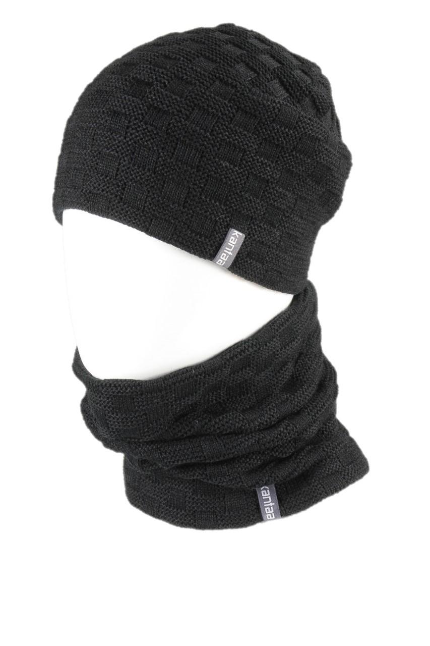 Вязаная шапка с Buff снуд КАНТА унисекс размер взрослый, черный (OC-044)