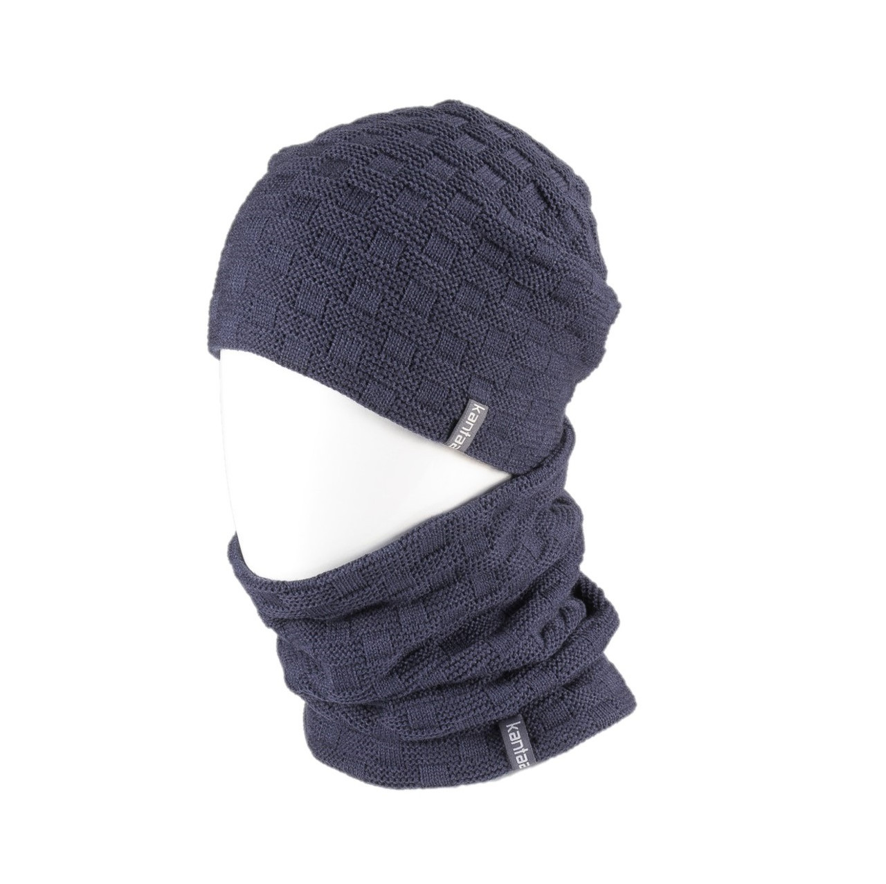 Вязаная шапка с Buff снуд КАНТА унисекс размер взрослый, синий (OC-046)
