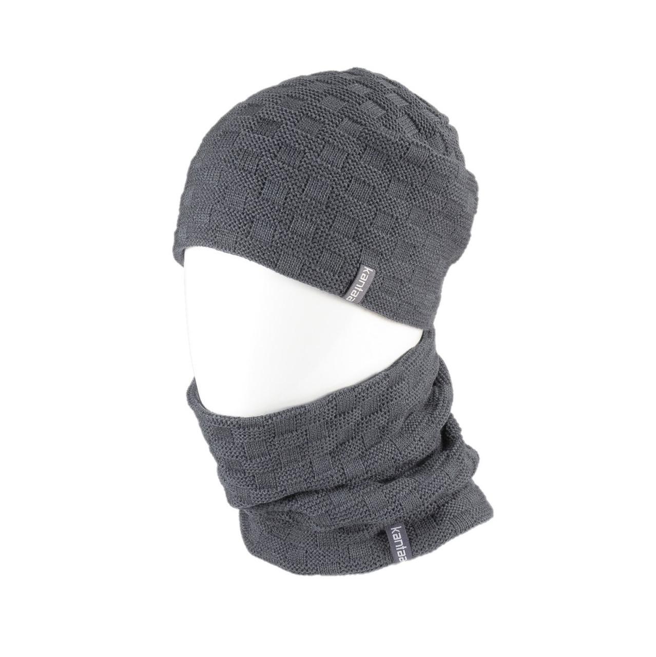 Вязаная шапка с Buff снуд КАНТА унисекс размер взрослый, серый (OC-048)