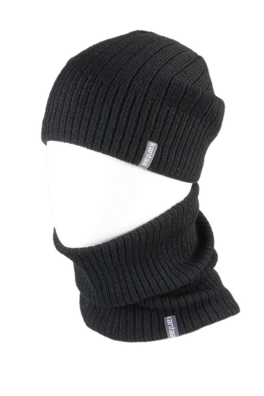 Вязаная шапка с Buff снуд КАНТА унисекс размер взрослый, черный (OC-049)