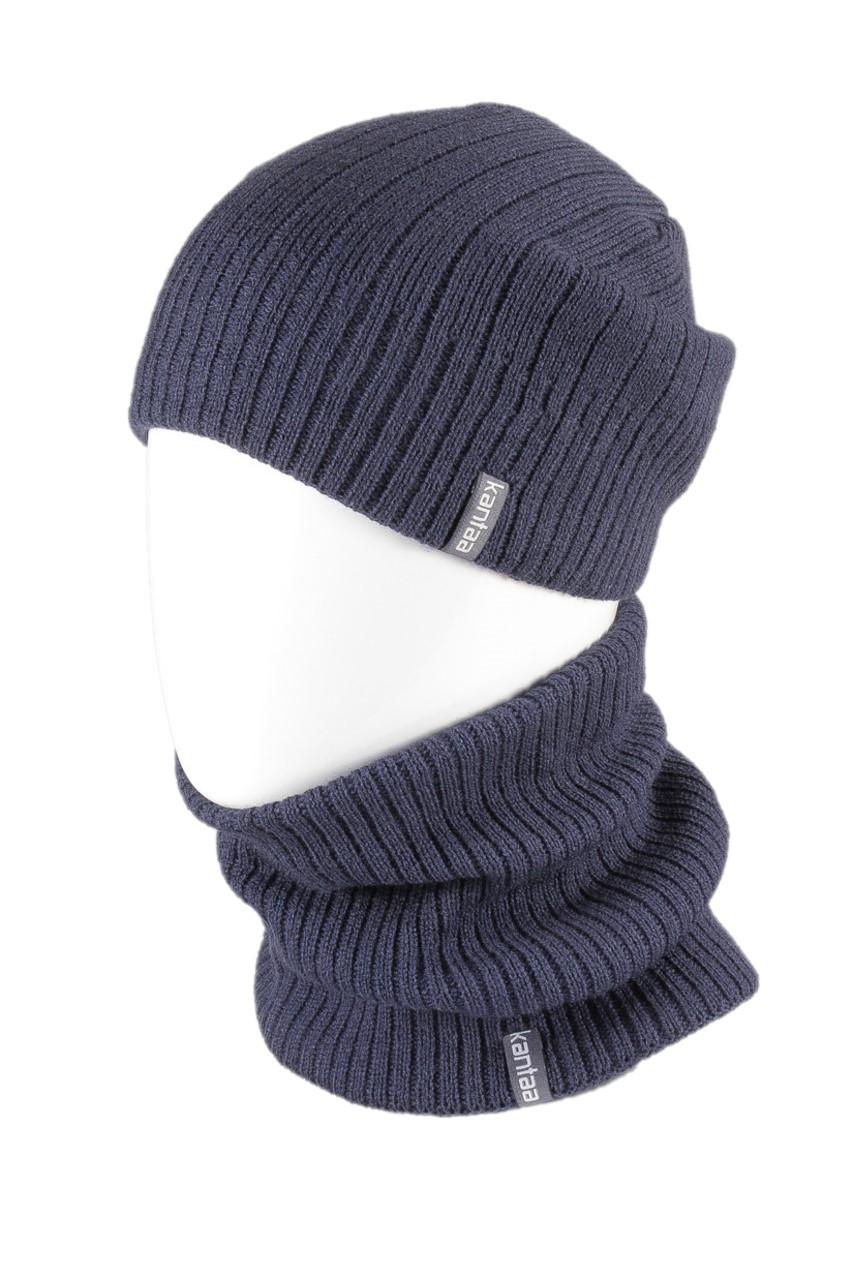 Вязаная шапка с Buff снуд КАНТА унисекс размер взрослый, синий (OC-051)