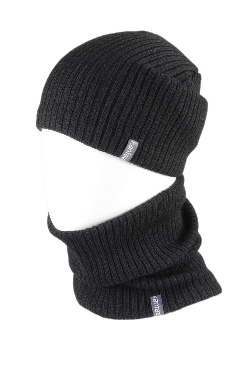 Вязаная шапка с Buff снуд КАНТА унисекс размер взрослый, черный (OC-052)
