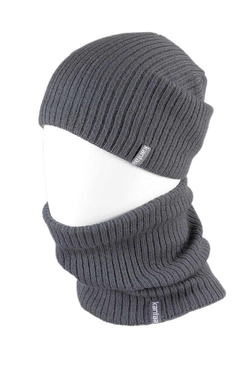 Вязаная шапка с Buff снуд КАНТА унисекс размер взрослый, серый (OC-056)
