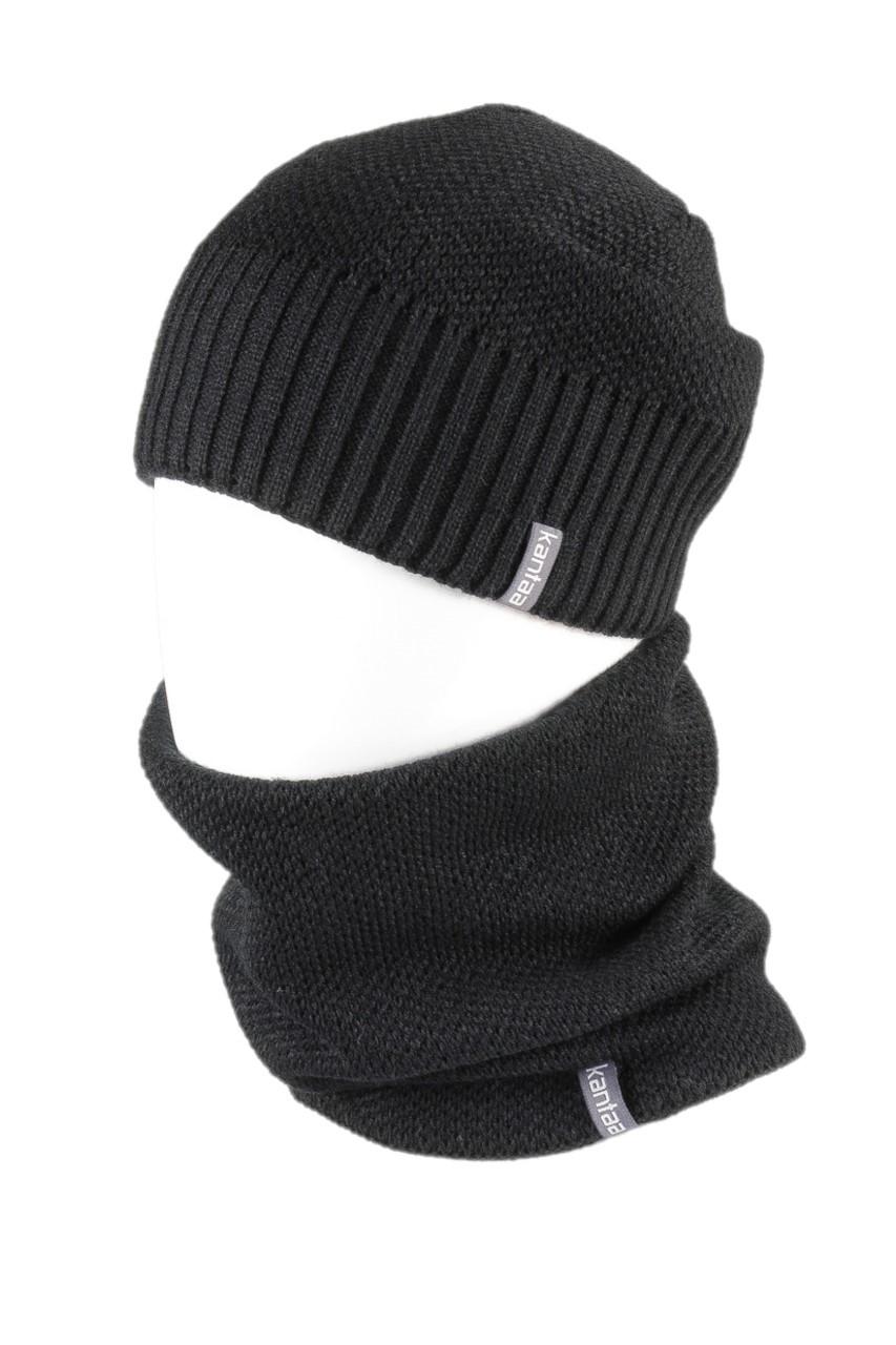 Вязаная шапка с Buff снуд КАНТА унисекс размер взрослый, черный (OC-057)