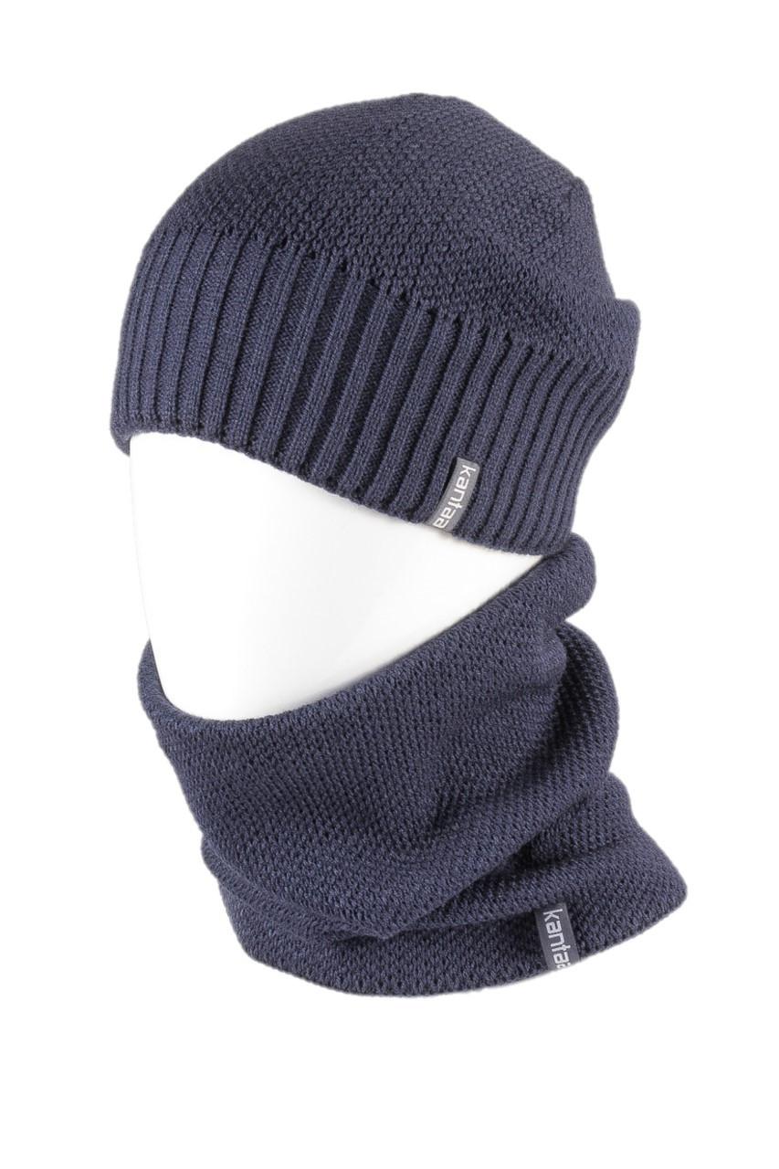 Вязаная шапка с Buff снуд КАНТА унисекс размер взрослый, синий (OC-059)
